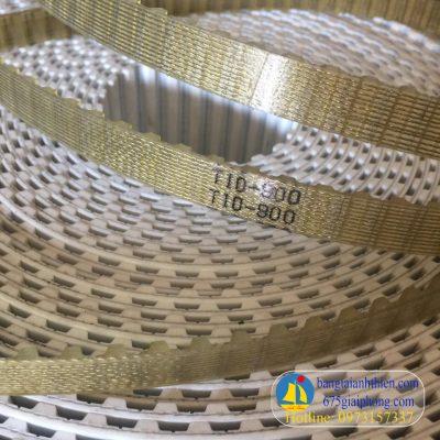Dây đai răng T10(10mm) màu vàng nhạt chất liệu Pu lõi thép, dây curoa răng hàng đúc liền