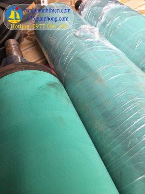 Ru lô D220 bọc cao su độ cứng 70 shore màu xanh cho máy nhám gỗ